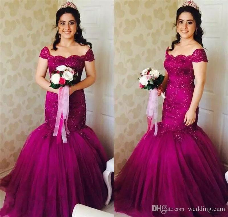 Magenta Mermaid Lace Wedding Dresses Off The Shoulder Beaded Cheap