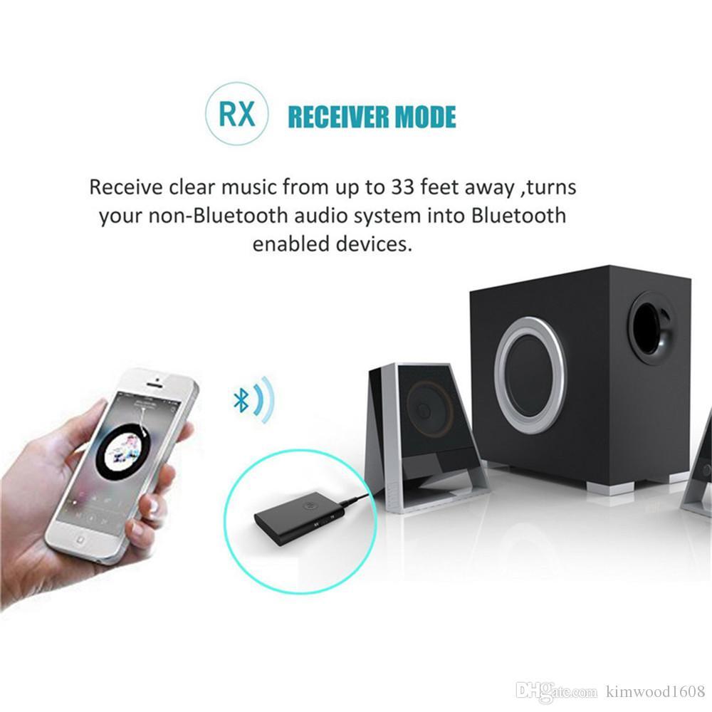 Bluetooth 4.1 Sender / Empfänger, 2-in-1 Wireless 3,5 mm Adapter aptX Low Latency, 2 Geräte gleichzeitig, für TV / Home Sound System