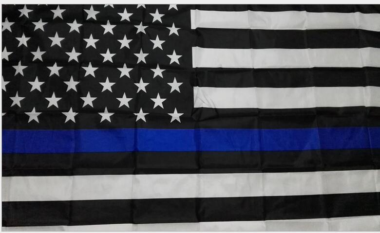 Eco-Friendly Natal A polícia dos EUA bandeiras 3 * 5 Pé Bandeira fina de Blue Line EUA Preto Azul branco americano com latão Grommets bandeira Flags