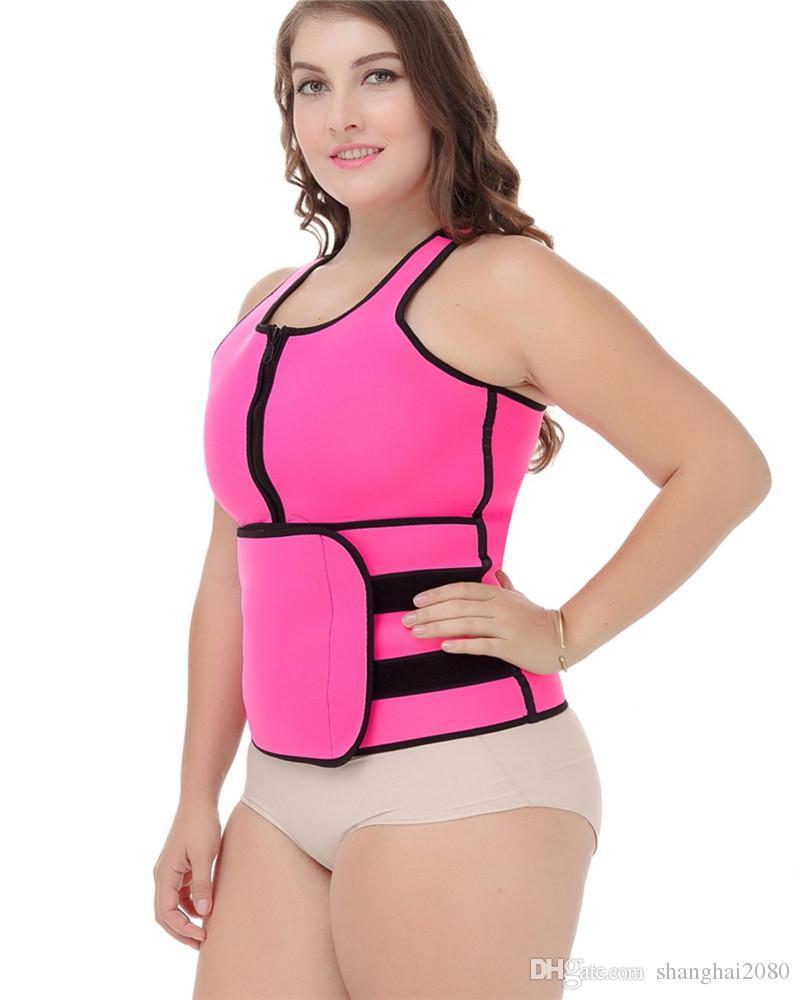 efd7edc87fef7 2019 2017 Hot Plus Size Waist Trainer Neoprene Sauna Sweating Vest Tank Top  Velco Magic Sticker Belly Trimmer Zipper Belt Women Shaper From  Shanghai2080