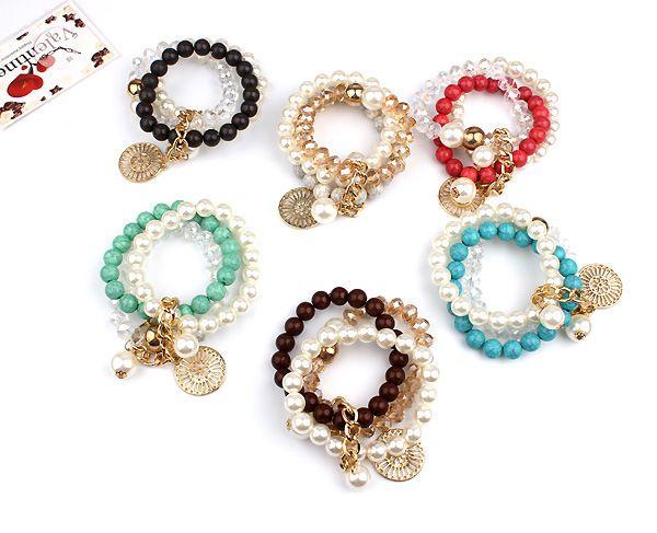 Böhmen-Art-Türkis-Armband-Frauen-Legierungs-hängende elastische Armbänder 6 Farben Creme-Perlen-Korn-Armbänder 3 Reihen-Mädchen-reizendes Armband