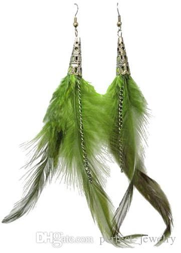 Feather Earrings wholesale Cute Bronze Charm Chain Light Dangle Eardrop Army Green Navy Blue Yellow Black White Red JF309
