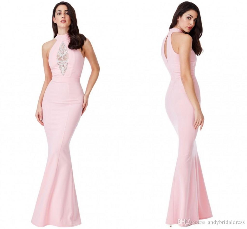 Sexy Halter Mermaid Long Prom Dress 2017 Tight Fitted Beaded Satin ...