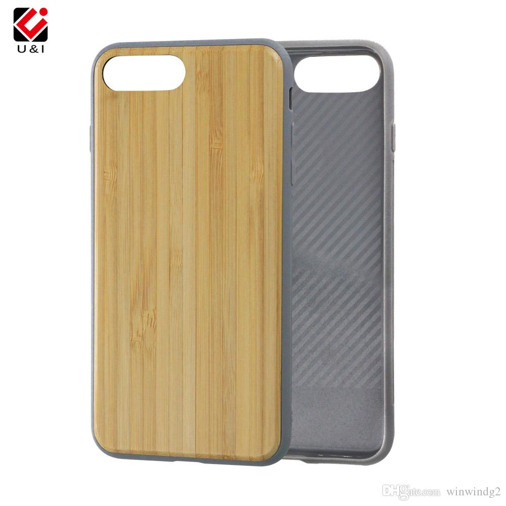 For iPhone Case Flexible TPU Wood Back Cover Case Blank Back Wood Phone Cover Case for iPhone 6 6plus 7 7plus