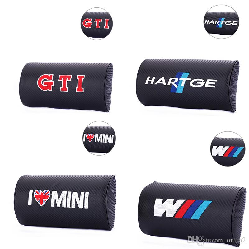 Car seat neck pillow, can protect the neck, the material is carbon fiber leather, use any vehicle for m hartge logo