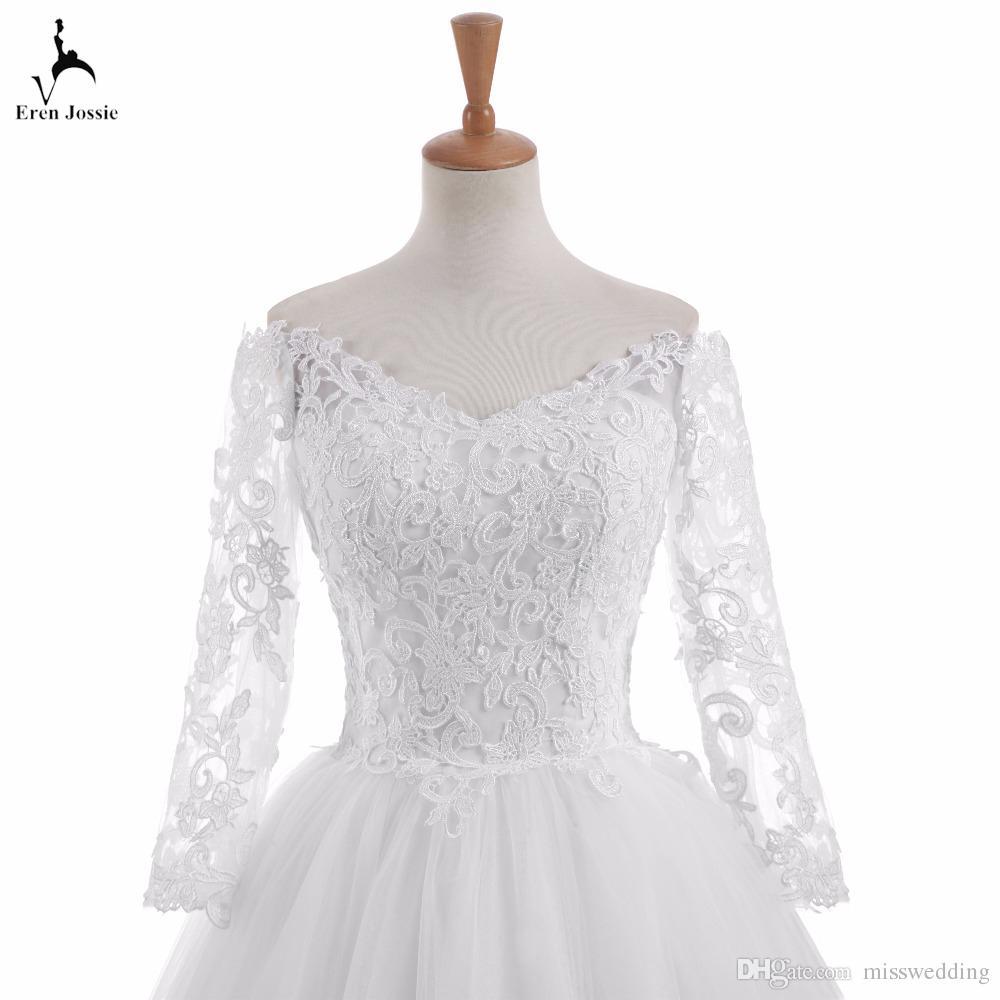 2017 neue Stil Langarm V-Ausschnitt Exquisite Hochzeitskleid Zip Back Sweep Zug Braut Spitze Kleid