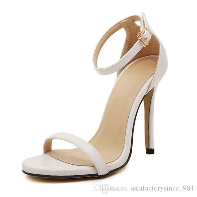 Compre Las Mujeres De Moda Nuevas Sandalias De Verano Femeninas Sexy Tacones  Altos Tobillo Correa Ante Zapatos De Fiesta La Mujer De Punta Abierta  Hebilla ... f4befc0b4327