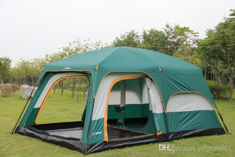 Ultralarge خيمة المأوى خيمة لودج قاعة واحدة من غرفتي نوم طبقة مزدوجة 6-12 شخص استخدام الخيام حزب الأسرة التخييم في الهواء الطلق