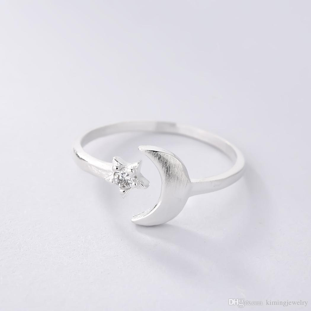 Trendy 925 Sterling Silver Finger Adjustable Rings for Women Open Half Moon Crystal Star Symbol Party Gift Band Jewelry