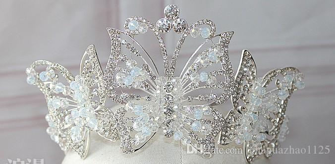 Kore büyük kristal kelebek gelin taç el yapımı boncuklu headdresses düğün hediyesi gelinlik aksesuarları