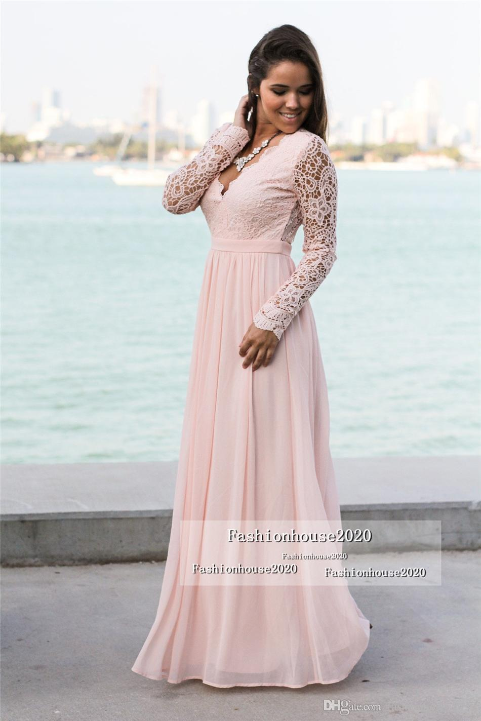 Sexy Lace Chiffon Long Sleeve Evening Dresses Deep V Neck Sexy Backless Formal Evening Gowns Plus Size Maxi Dresses Party Gowns