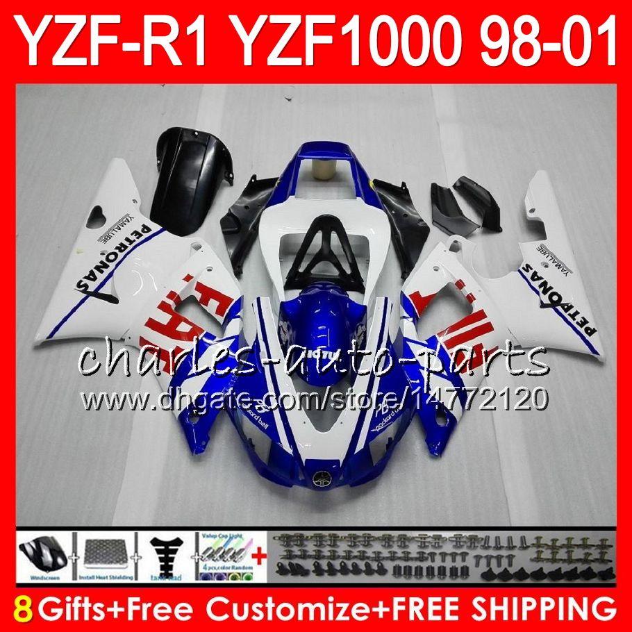 8FIFT Body for Yamaha YZF1000 YZFR1 98 99 00 01 YZF-R1000 Vit Blå 61HM7 YZF 1000 R 1 YZF-R1 YZF R1 1998 1999 2000 2001 Fairing