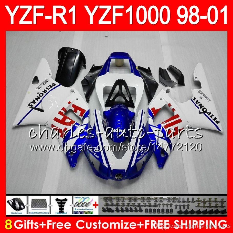 8Gift Body for YAMAHA YZF1000 YZFR1 98 99 00 01 YZF-R1000 화이트 블루 61HM7 YZF 1000 R 1 YZF-R1 YZF R1 1998 1999 2000 2001 페어링
