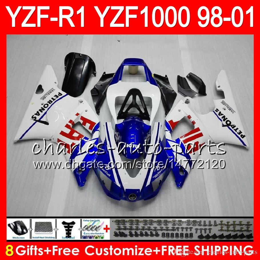 8Gift Corps Pour YAMAHA YZF1000 YZFR1 98 99 00 01 YZF-R1000 blanc bleu 61HM7 YZF 1000 R 1 YZF-R1 YZF R1 1998 1999 2000 2001 Carénage
