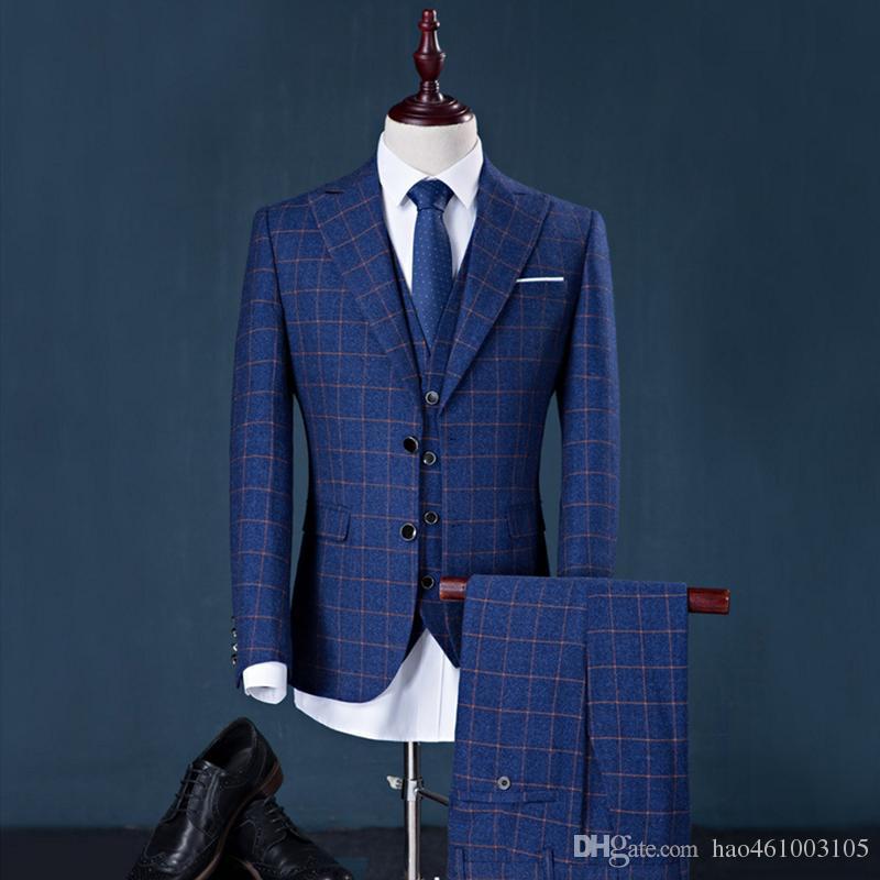 2019 Men Suit Factory Brand Design Suit+Pant+Vest Stripe