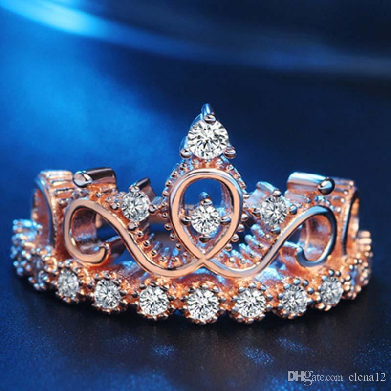 7b2a8cac38c7 Moda Zircon Diamante Cristal Corona Anillo Mujeres Anillo De Oro Anillo  Anillos De Moda Anillos De Boda Joyería De Boda Rosa Anillo De Oro CZ  Anillos 080201