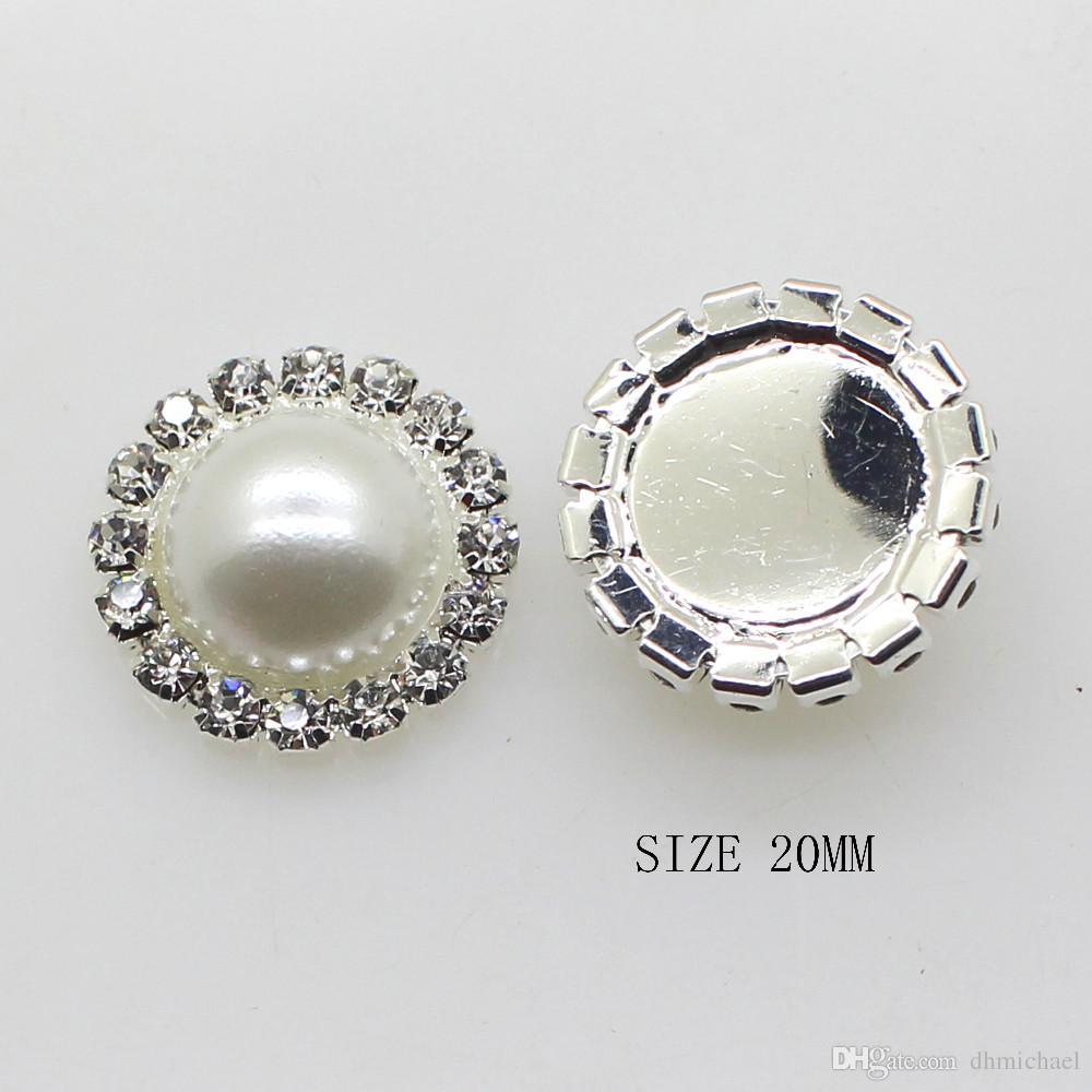 50 قطع 20 ملليمتر جولة معدن حجر الراين زر مع مركز اللؤلؤ الزفاف الزينة diy الشعر التبعي سعر المصنع