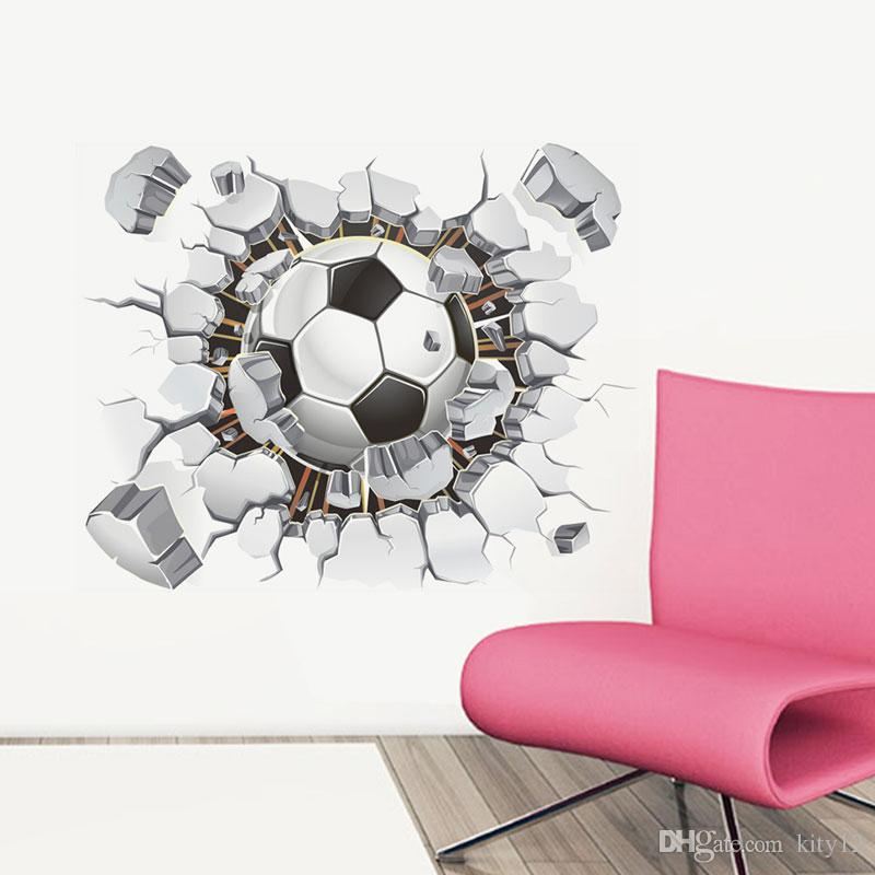 Wholesale Football Soccer ball through the wall stickers TV background Removable living room bedroom wall decals boys room decoration
