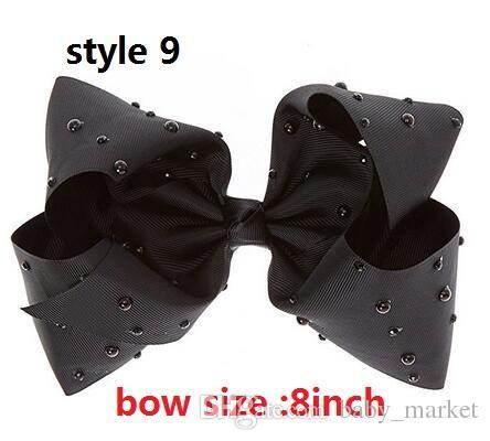 9 stijl! Overdreven 8 inch Jojo Black Rhinestone Boog met Clip Sparkle Bogen Cheer Ombre Rainbow Lint Haar Boog Haaraccessoires /
