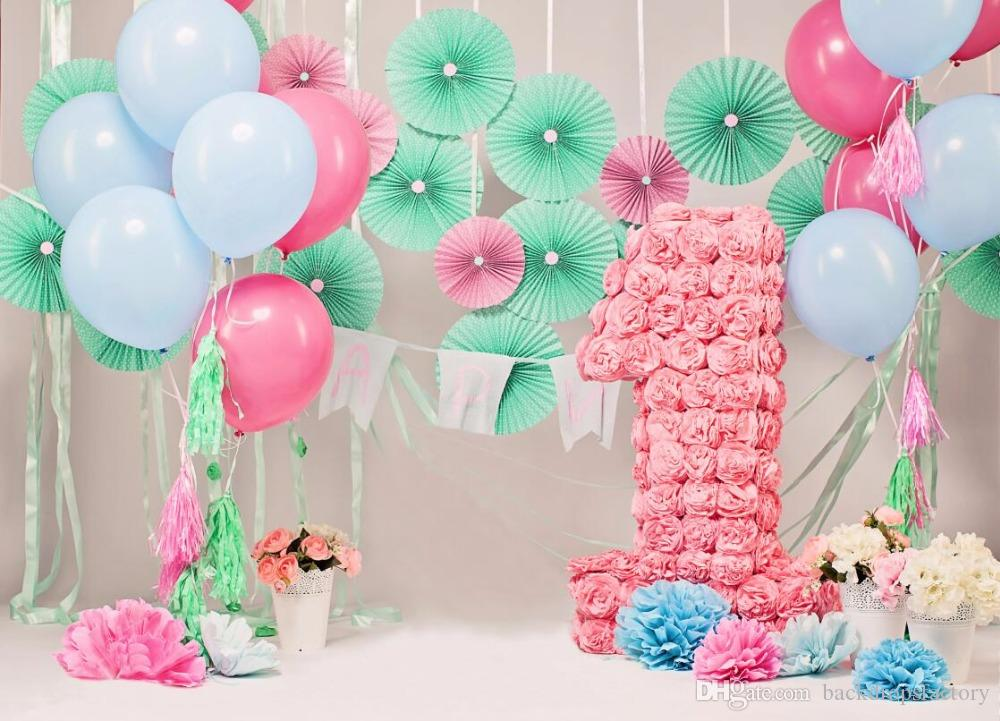 Grosshandel 7x5ft Babys 1 Geburtstag Fotografie Kulissen Blumen