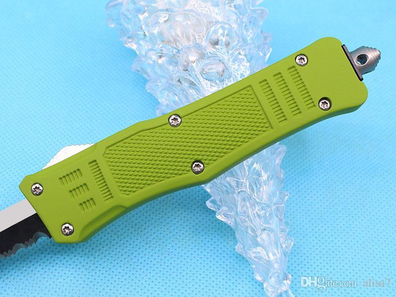Sonderangebot 7 Zoll Small 616 Auto-taktisches Messer 440c Tanto-halbe Zerration Blade EDC-Taschenmesser