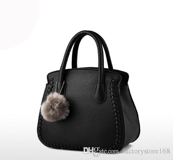 e076722bf528 Women Pom Poms Shoulder Handbags Solid Color Pu Leather Tote Bags Socialite  Style Cute Bags For Ladies Womens Handbags Handbags From Factorystore168