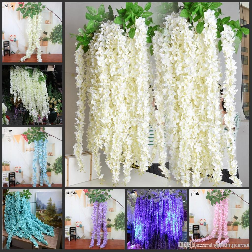 165cm Long Elegant Wisteria Rattan Artificial Silk Hydrangea Flowers ...