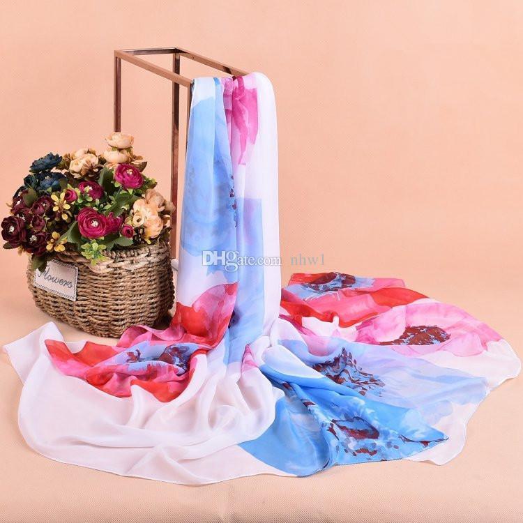 Nuove donne personalità fiori stampa Sillk sciarpe in chiffon 100 * 180 cm grandi scialli sciarpa lunga le donne delle signore avvolge