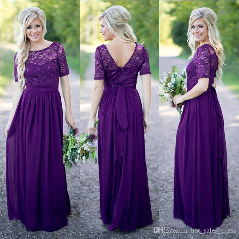 Compre Vestidos De Dama De Honor De Color Púrpura Encaje De La ...