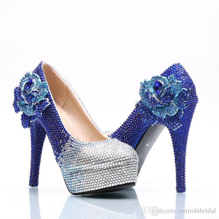 Gros Argent Royal Bleu Fleur Cendrillon Chaussures De Bal De Soirée Haute Talons Perles Strass Bridal De Demoiselle D'honneur Fait À La Main Chaussures 012