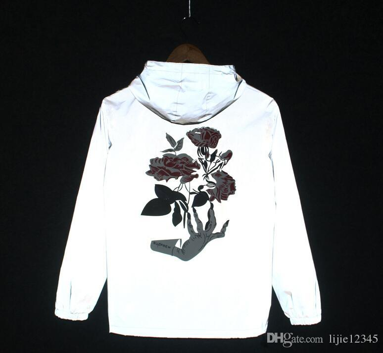 2017 NOVA Mão fantasma Rose Flor Homens Jaqueta de Outono Reflexivo 3 m Casaco Jaqueta de Hip Hop Homens Blusão À Prova D 'Água