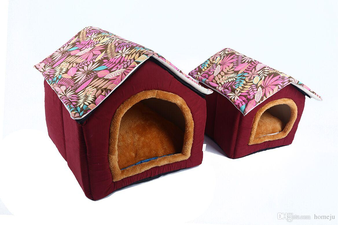House Shape Dog Bed Puppy Soft Comfortable Home Detachable Nest Dog kennels For Small Medium Dogs Travel