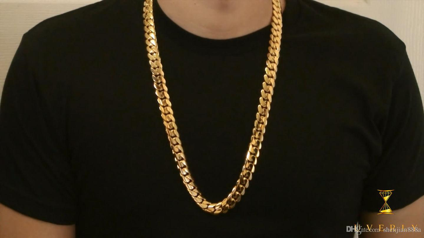 Wholesale 14mm thick vip miami cuban 18k solid yellow gold chain wholesale 14mm thick vip miami cuban 18k solid yellow gold chain necklace 30 5344g butterfly pendant necklace birthstone pendant necklace from shenjian888a aloadofball Image collections