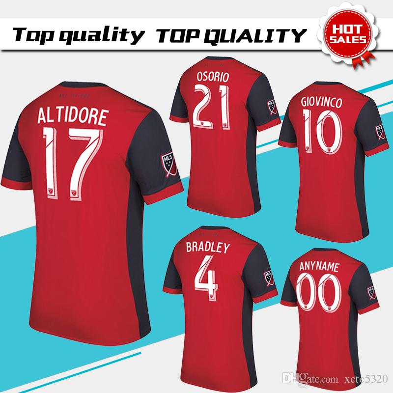 2017 Toronto FC home Soccer Jersey 17 18 #10 GIOVINCO Red Soccer Shirt  Customized MLS football uniform Sales