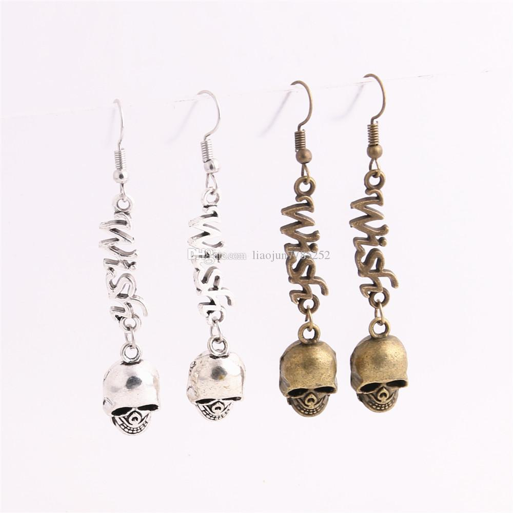 Metal Alloy Zinc Letter Wish Connector Skull Pendant Charm Drop Earing Diy Jewelry Making C0725