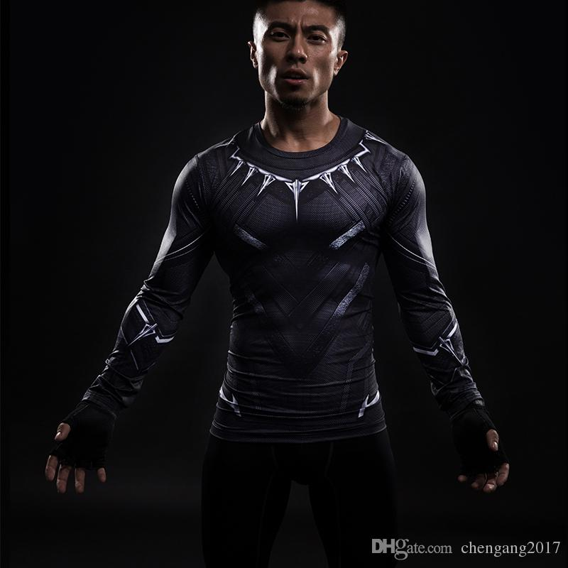 3186ca207580 Marvel Black Panther New 3D Printed Functional T Shirt Captain America Long  Sleeve T Shirt Men Cosplay Costume Clothing Male Compression Top Shirt  Shirts ...