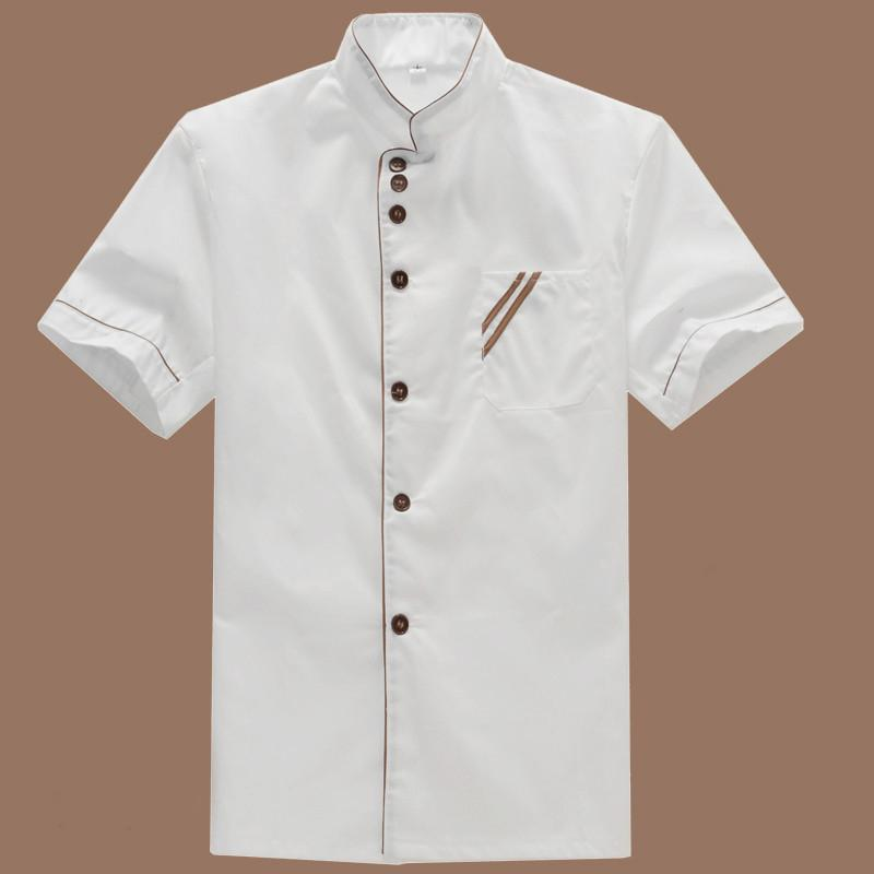9093d7915 2019 Wholesale Summer Kitchen Chef Jacket Uniforms Short Sleeve Hotel Cook  Clothes Food Services Frock Coats Work Wear Chef Uniform From ...