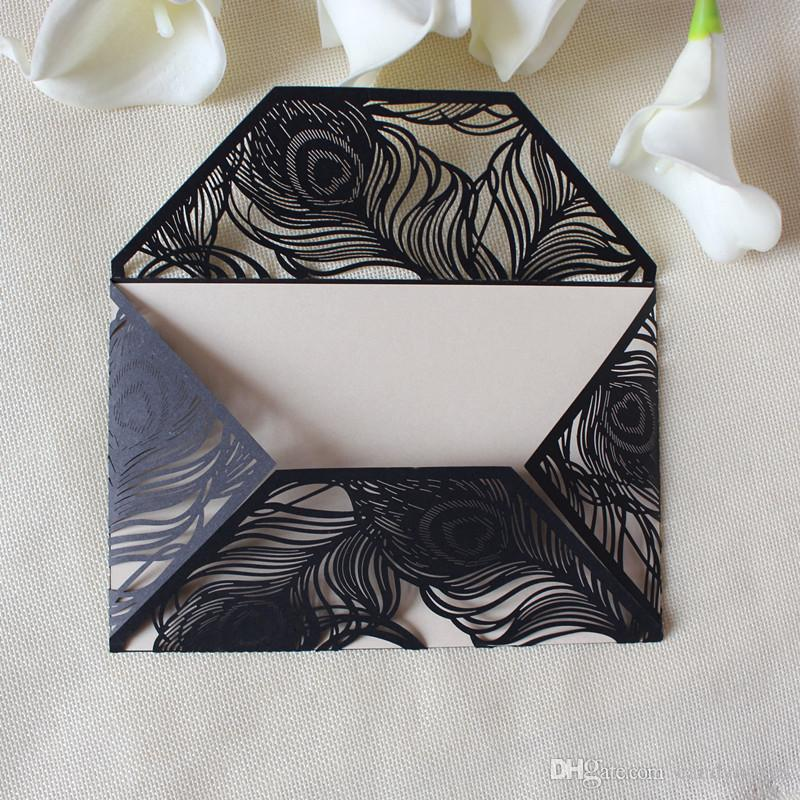 black wed invitation card feather invitation for valentine