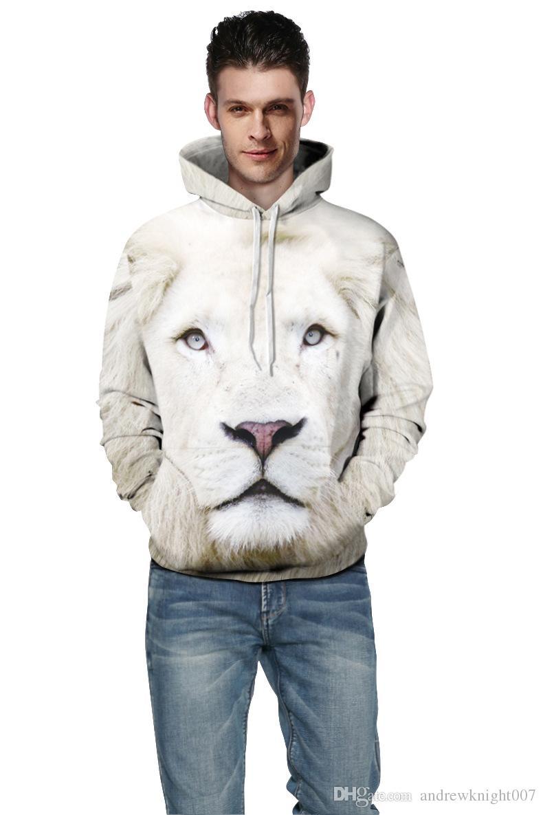 Nouveau printemps Sweats Homme 3D Style White Lion Imprimé Pensonality Sweat Hip Hop Hoodies Pull Chandal Hombre gratuit rapide Shippping S-5XL