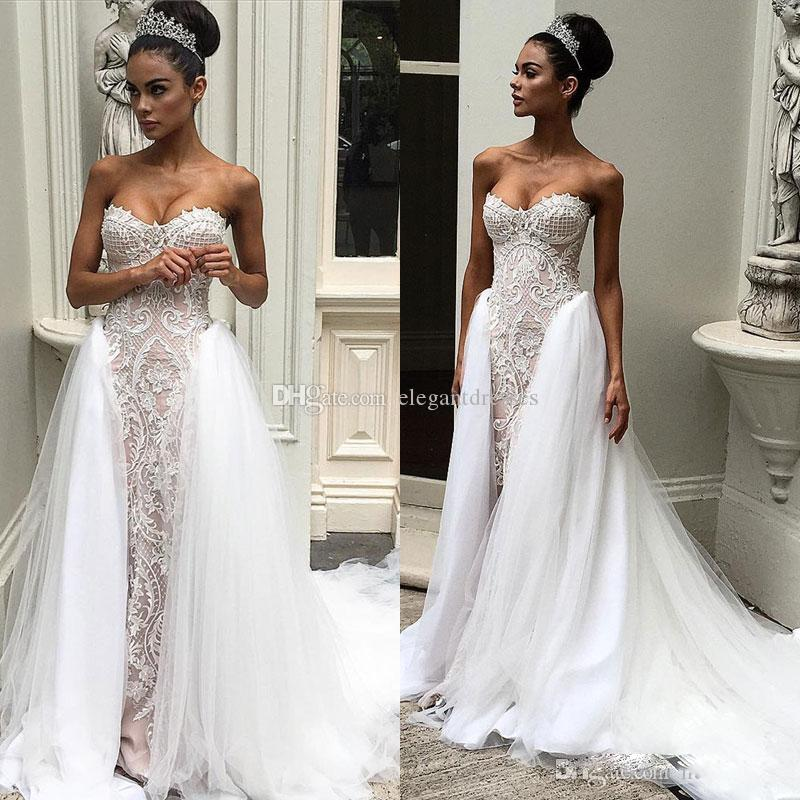 Discount Vintage 2017 Overskirts Wedding Dresses Sweetheart Neckline Delicate Appliques Gowns Sweep Length Sleeveless Bridal Gown Best Lace