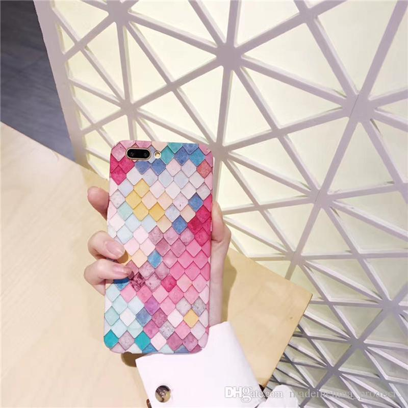 Fish Scale Case For iPhone X Colorful Geometric Matte Hard PC Phone Back Cover For iphone 8 7 6s plus iPhoneX iPhoneX