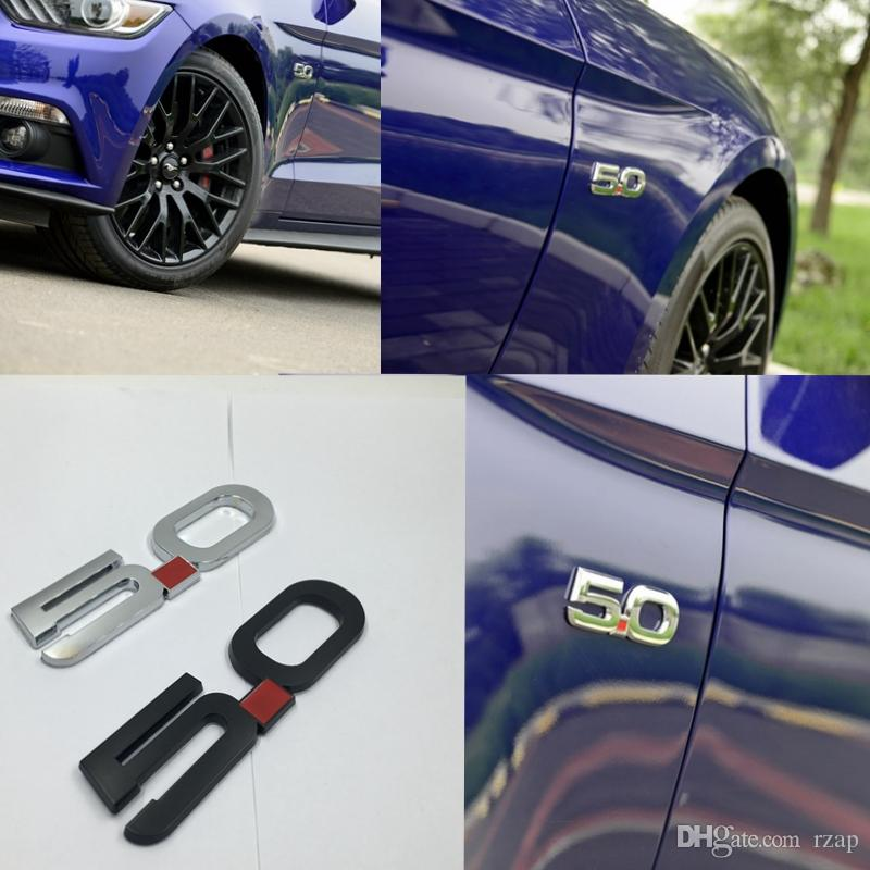 3D Metal GT 5.0 Emblems Direct Replacement Fender Side Badge Decal For Ford Mustang 2015-2016