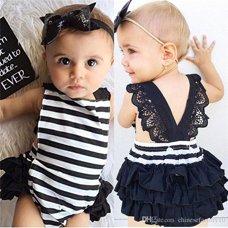 80d44aea715 2019 Ins Baby Girls Romper And Bowknot Headband Sets Toddler Backless Lace Jumpsuits  Sequin Hairband Infant Baby Summer Clothes From Chinesefactory10