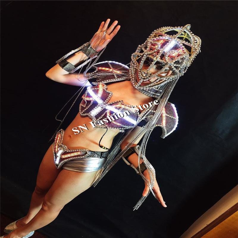 AS86-1 Sexy ballroom dance women dresses led light costumes with bra helmet robot men dj led luminous bar model wears clothes dj