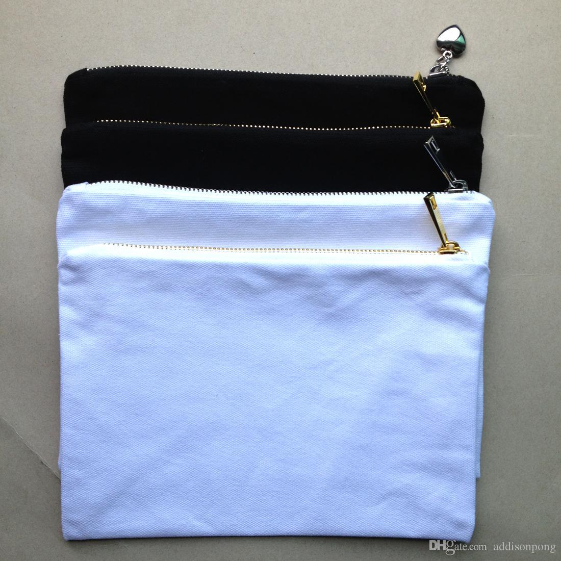 골드 / 실버 지퍼 12온스 블랙 / 화이트 코튼 캔버스 화장품 가방과 일치하는 컬러 라이닝 빈 화장품 가방 세면 도구 파우치