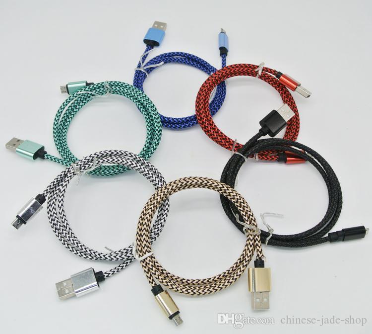 Akıllı telefon için Mikro USB Tip C 1M 3 ft 2.0A Dalga Örgülü Alüminyum Metal Adaptör Şarj Kablosu Naylon Örgülü Kordon Tel