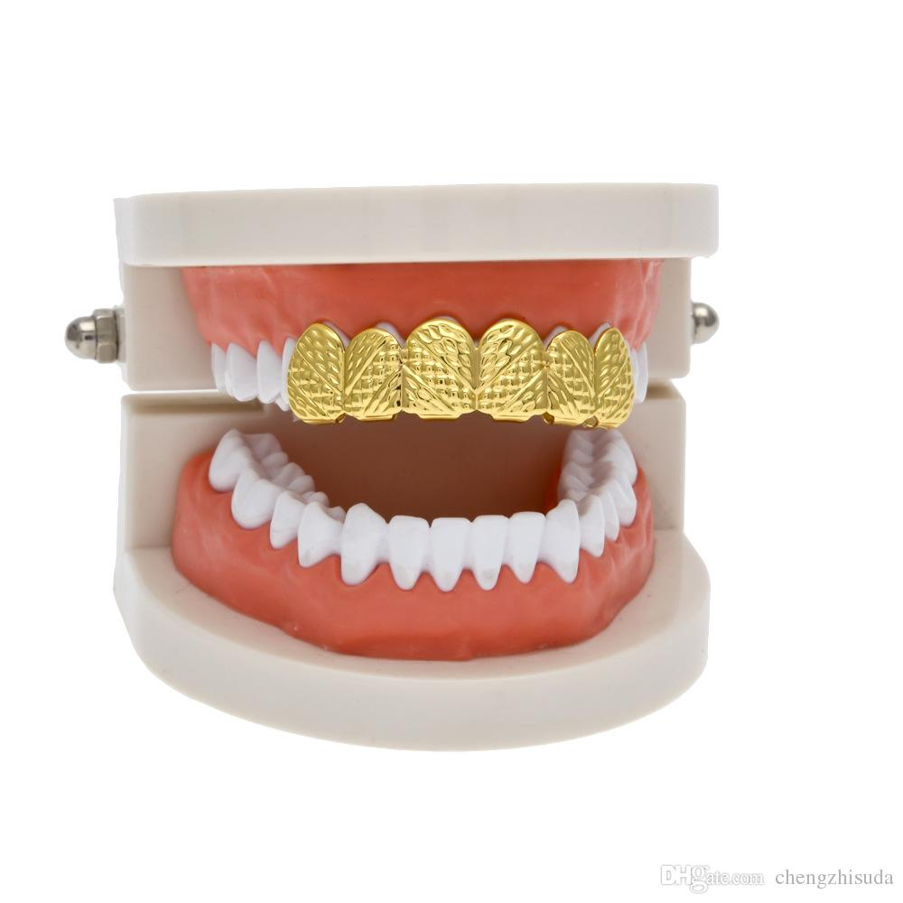 New Real Gold Silver Plated HIP HOP Lattice shape Teeth Grillz Top Bootom Groll Set With silicone Fashion Party Jewelry