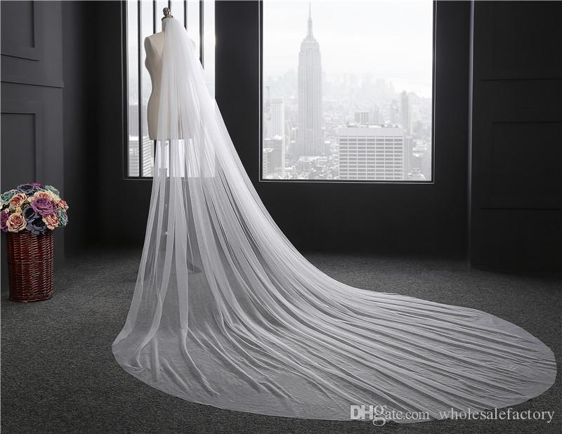 재고 3 미터 긴 얇은 웨딩 베일 빗 1T 컷 가장자리 신부 베일 웨딩 액세서리 2017 CPA078