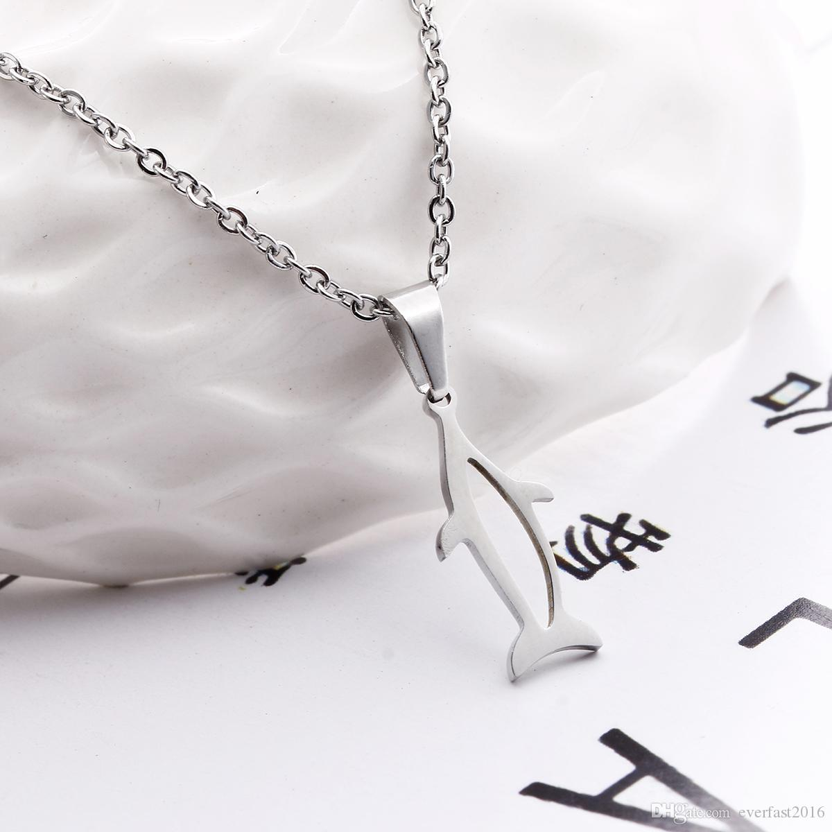 EVERFAST New Cute Hollow Whale Pendant O Chain Chokers Necklaces Stainless Steel Sailor Necklace For Women Men Jewelry SN024