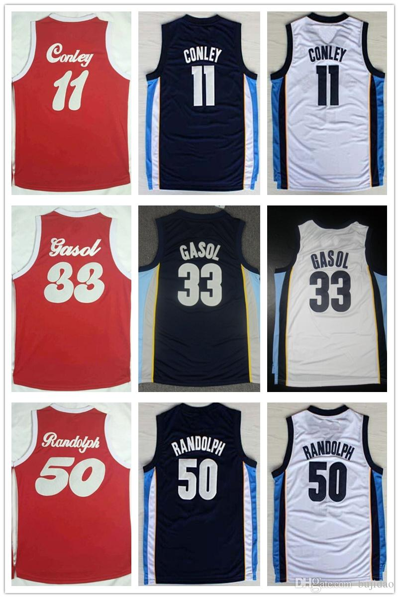 4d37270499be ... 2017 Mens 11 Mike Conley Jersey Cheap 33 Marc Gasol Basketball Jerseys  Shirt Uniform Sports White ...